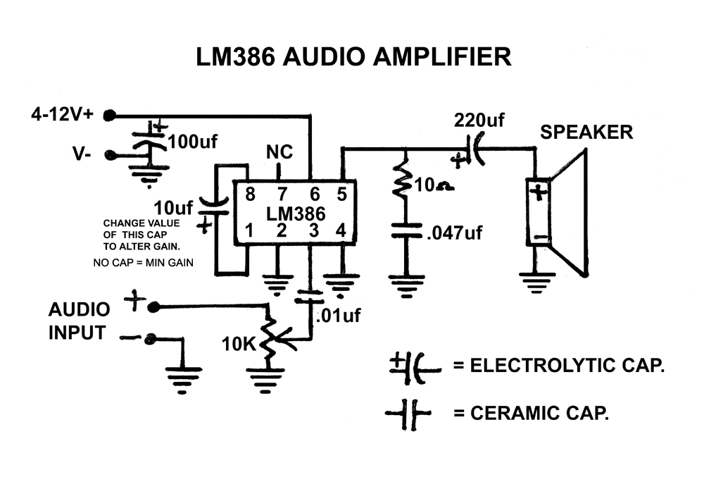 the 1  2 watt lm386 audio amplifier