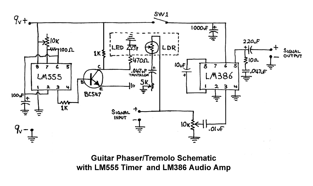 Lm386 Circuit Tremolo Great Installation Of Wiring Diagram Simple Audio Using The Guitar Phaser Effects Box Hack A Week Rh Hackaweek Com Amplifier