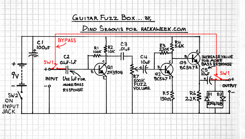 guitar fuzz schematic hack a week. Black Bedroom Furniture Sets. Home Design Ideas