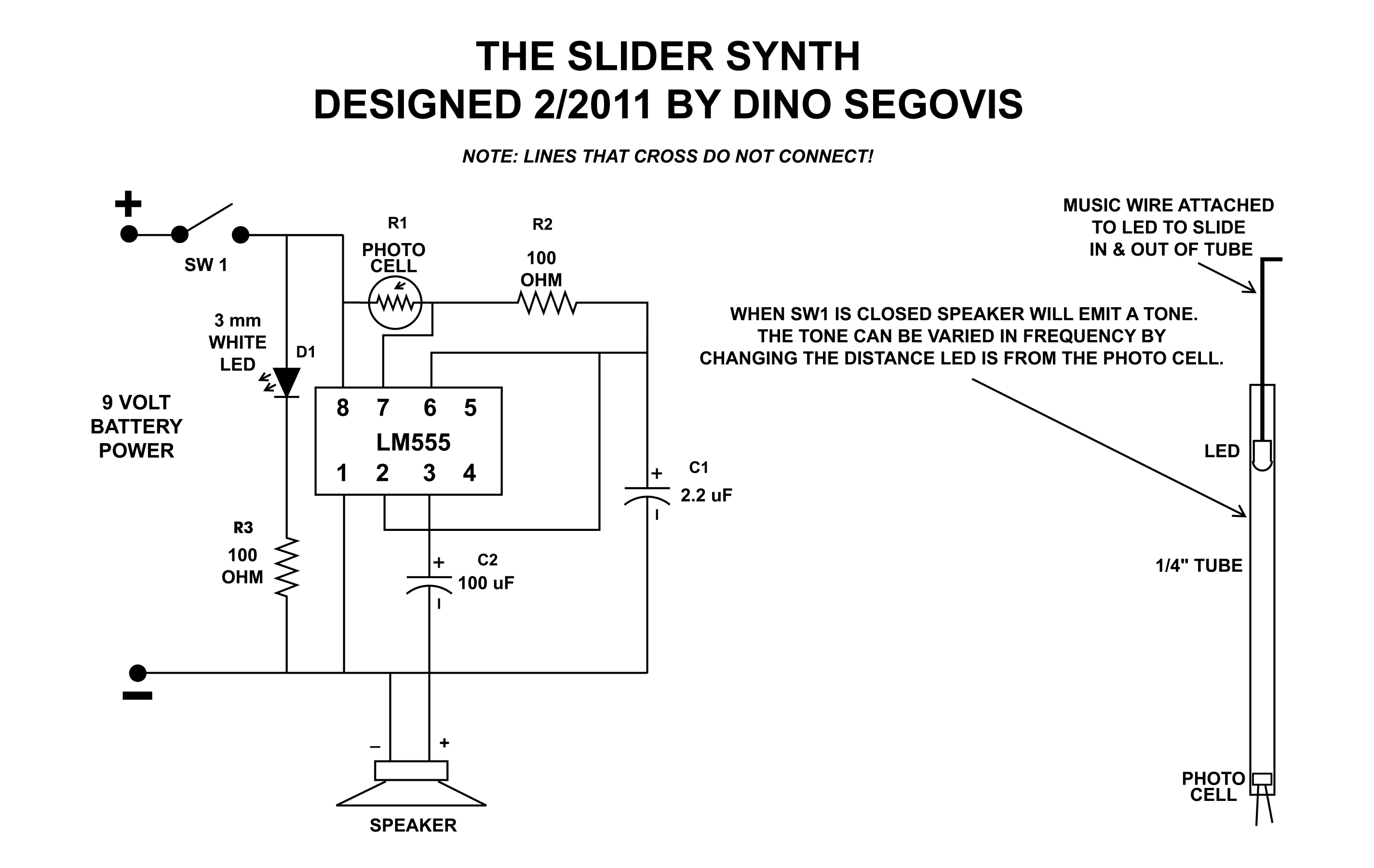 The 555 Slider Synth Hack A Week Timing Circuit Diagram This