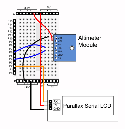 parallax ms5607 altimeter module with lcd readout | hack a ... altimeter wiring diagram #13