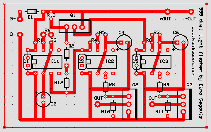 Adjustable speed 555 dual alternating light flasher pcb layout adjustable speed 555 dual alternating light flasher pcb layout alternating flasher wiring diagram at panicattacktreatment.co