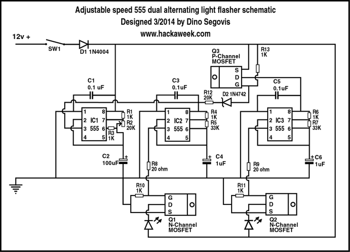 Adjustable speed 555 dual alternating light flasher schematic